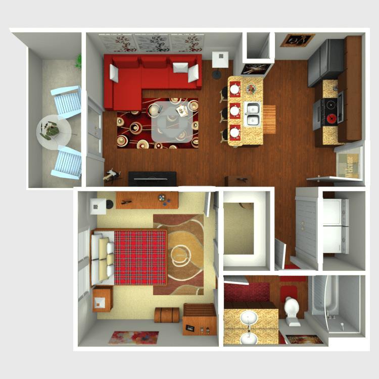 587 sq. ft. A1 floor plan