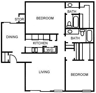 1,223 sq. ft. B5 floor plan