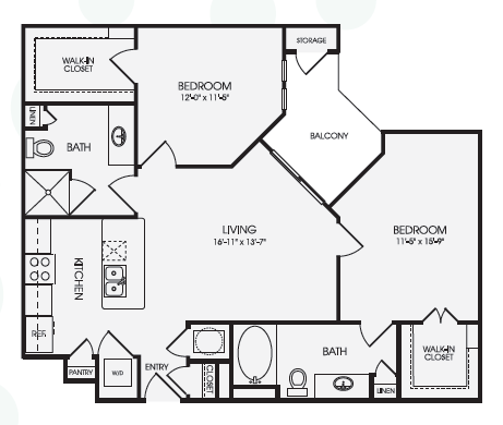 1,036 sq. ft. Montage/B1 floor plan