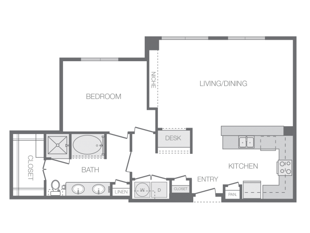 985 sq. ft. J floor plan