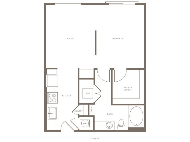 634 sq. ft. S1 floor plan