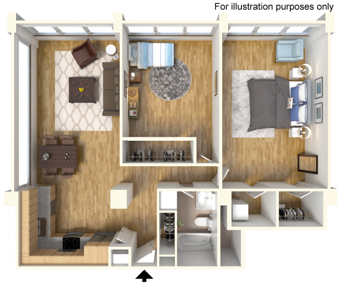 1,125 sq. ft. B2.1 floor plan