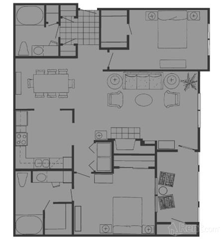 1,254 sq. ft. H floor plan