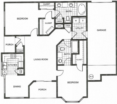 1,116 sq. ft. H1/H1S floor plan