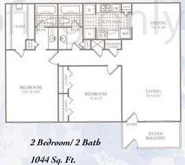 1,044 sq. ft. I floor plan