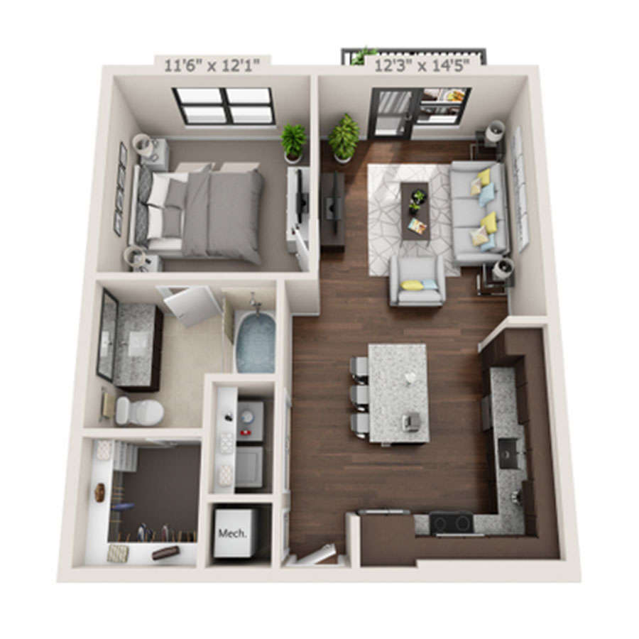 697 sq. ft. to 756 sq. ft. A1 floor plan