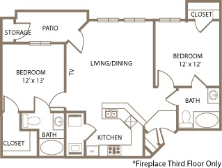 960 sq. ft. Essex-PH I floor plan