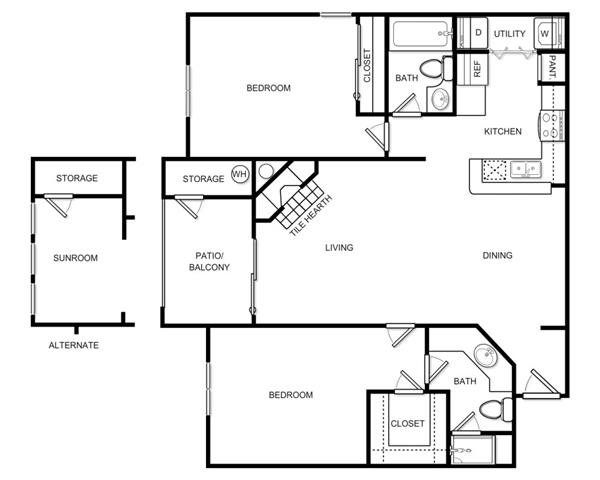 1,038 sq. ft. B2B floor plan