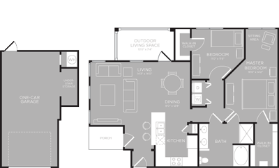 1,077 sq. ft. Medina floor plan
