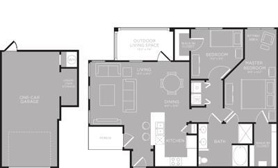 1,077 sq. ft. Medina floor plan