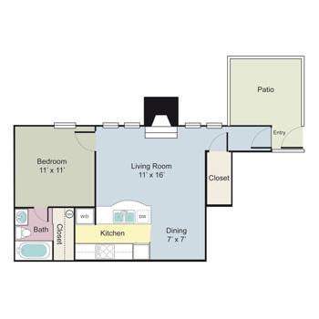 655 sq. ft. A1AR floor plan