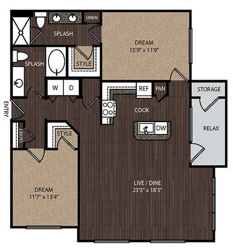 1,249 sq. ft. C3A 3rd floor plan