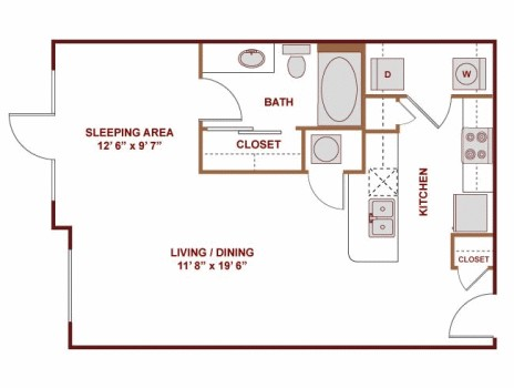 635 sq. ft. Ibiza floor plan