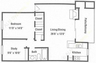786 sq. ft. A4 floor plan