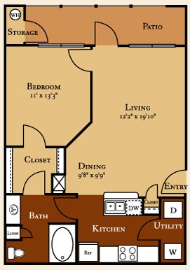 717 sq. ft. A2 floor plan
