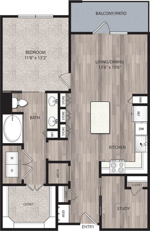 930 sq. ft. A5 floor plan