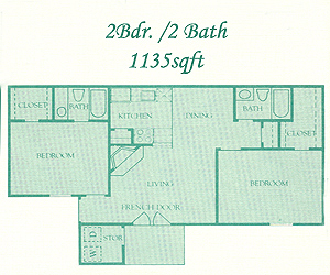 1,135 sq. ft. Bromley floor plan