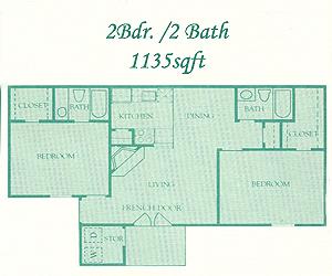 1,135 sq. ft. Bromley floor plan