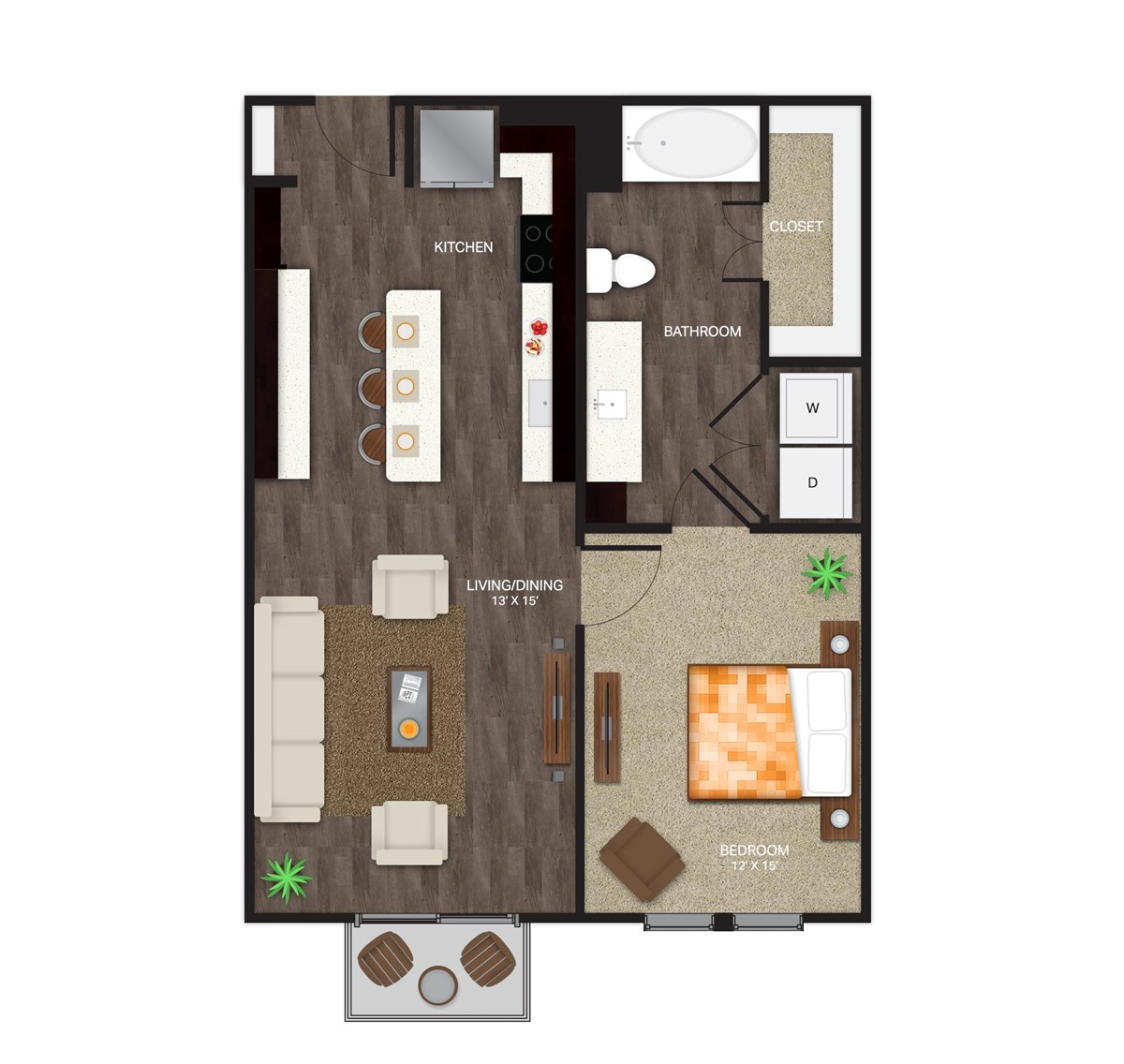 760 sq. ft. A-2B floor plan