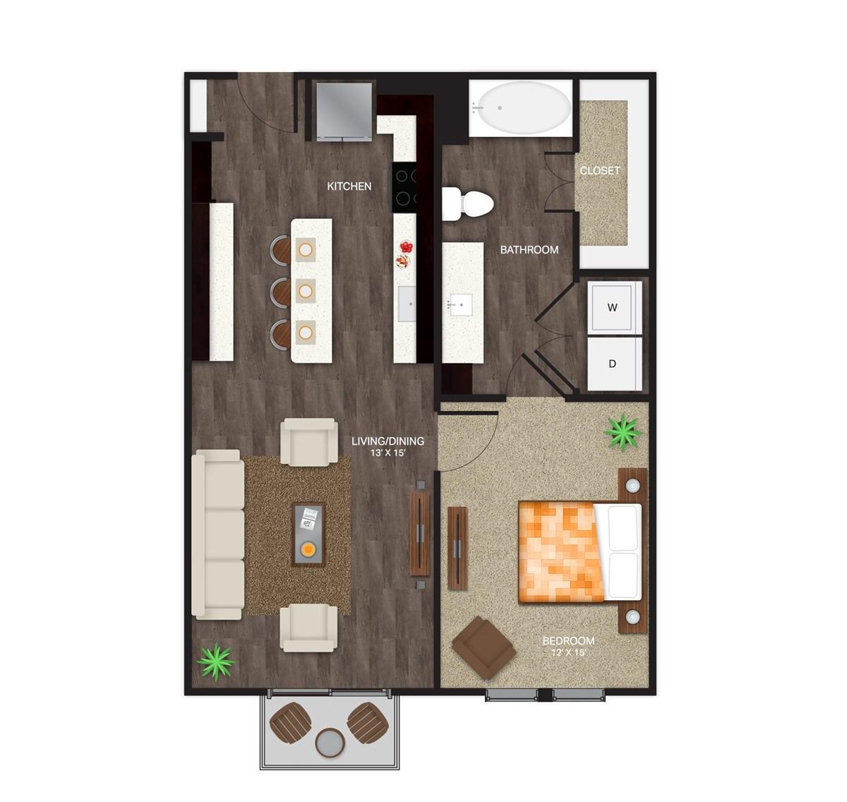 760 sq. ft. A-2B floor plan