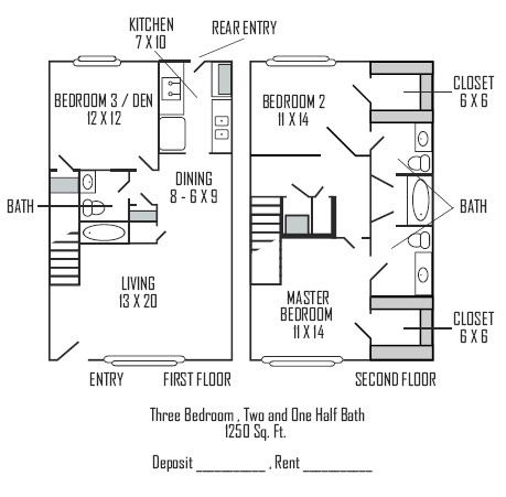 1,250 sq. ft. D floor plan