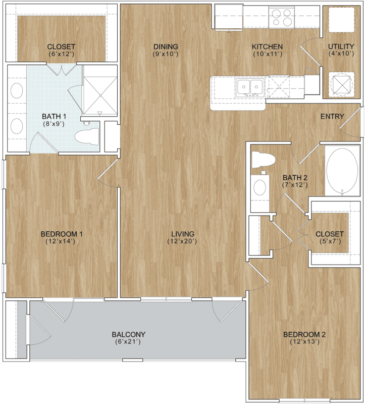 1,152 sq. ft. Retreat floor plan