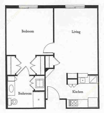 600 sq. ft. REGENT floor plan