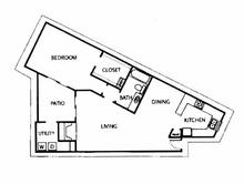 832 sq. ft. DP floor plan