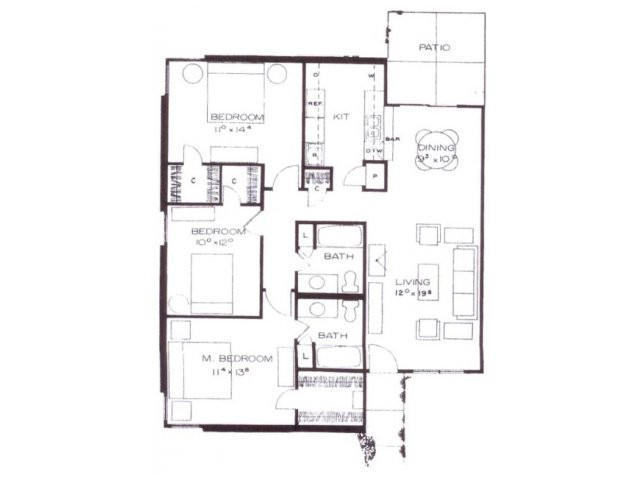1,287 sq. ft. G12 floor plan