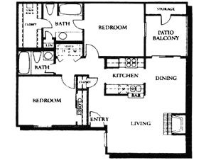 968 sq. ft. B2 floor plan