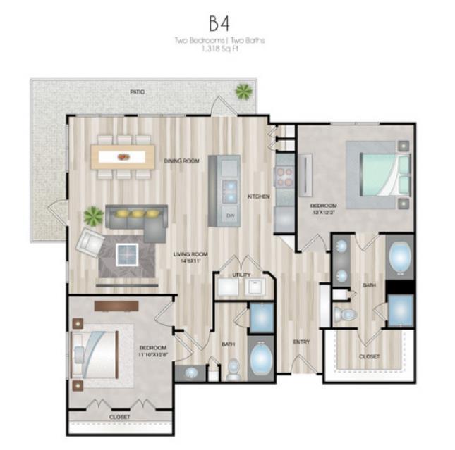 1,318 sq. ft. B4 floor plan
