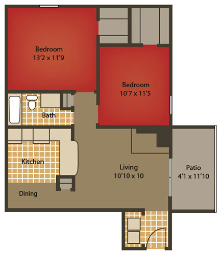 831 sq. ft. B1 floor plan