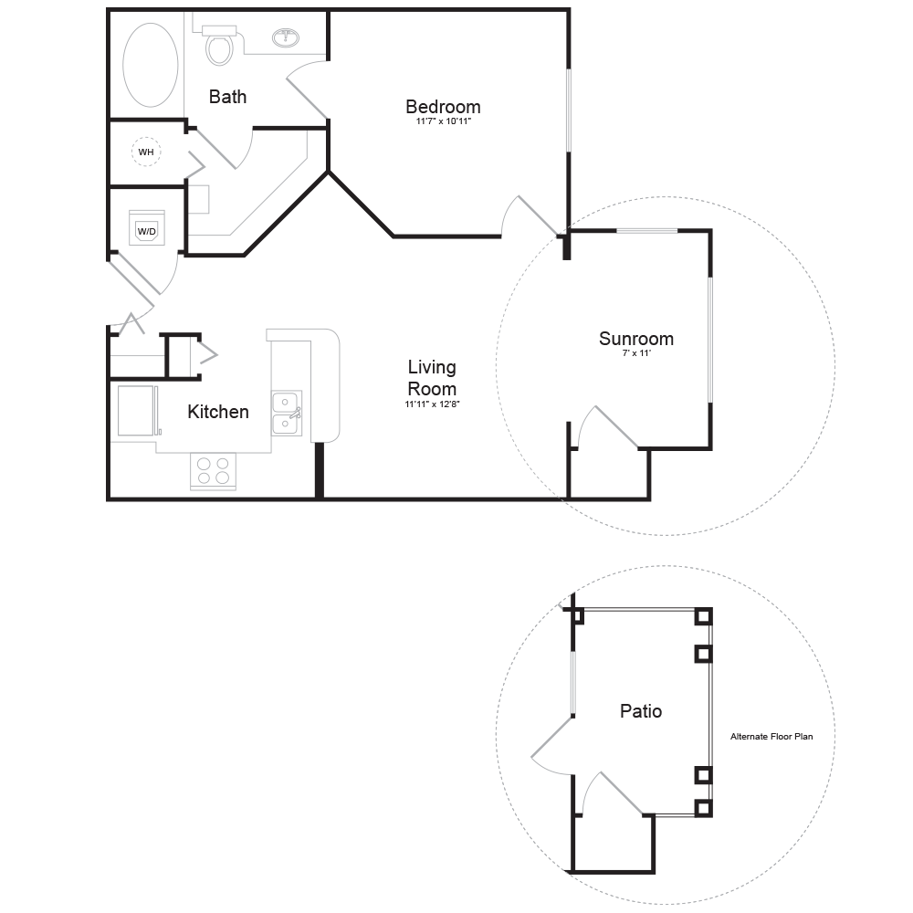 564 sq. ft. E1 floor plan
