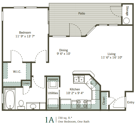 730 sq. ft. 1A floor plan