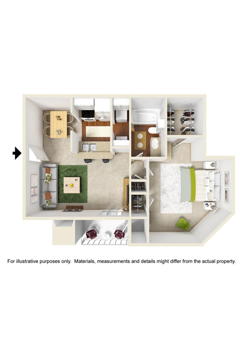 695 sq. ft. A6 floor plan