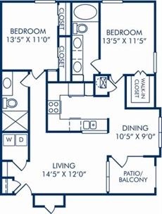 1,080 sq. ft. D floor plan