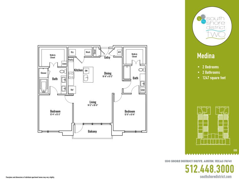 1,247 sq. ft. Medina floor plan