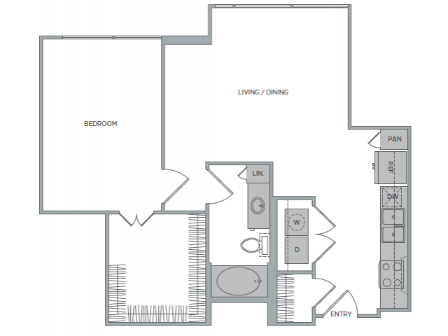 764 sq. ft. 1F floor plan