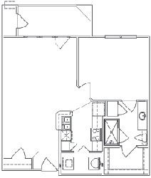 618 sq. ft. A1A floor plan