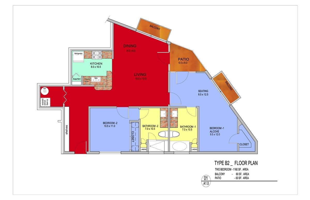 1,270 sq. ft. Cypress floor plan