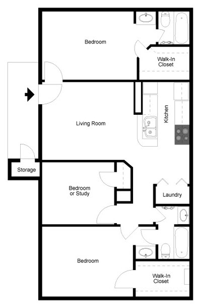 1,104 sq. ft. E floor plan
