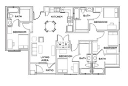1,248 sq. ft. 4x4 B floor plan