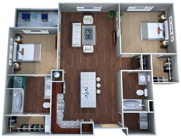 998 sq. ft. 2D floor plan