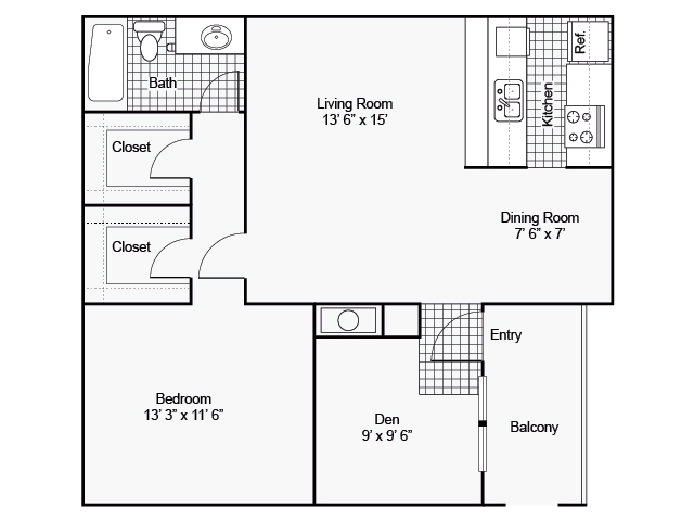 800 sq. ft. I A-8 floor plan