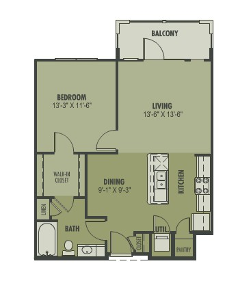 742 sq. ft. Belleza floor plan