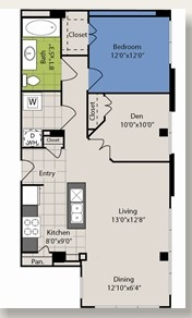 938 sq. ft. A8 floor plan