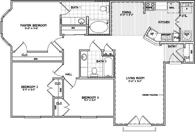 1,225 sq. ft. D floor plan
