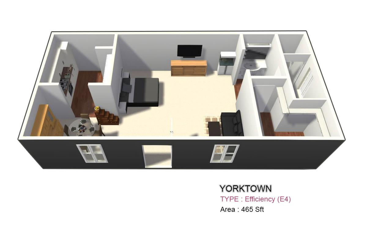 475 sq. ft. 1X1 floor plan