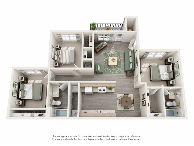 1,096 sq. ft. C floor plan