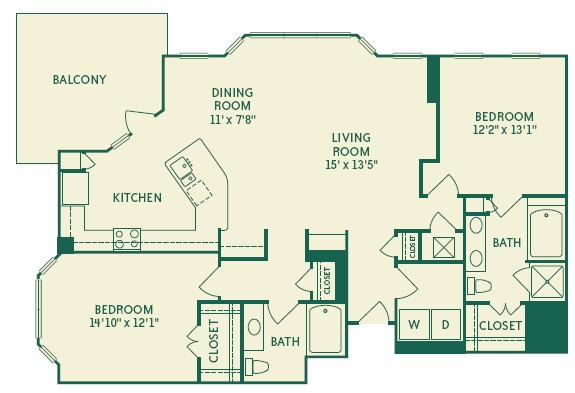 1,396 sq. ft. 2B4A floor plan